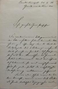 Lettre de Colmar von der Goltz à Heinrich Kiepert, 24 février 1888 – Berlin, Staatsbibliothek