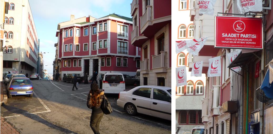 Entre Çarşamba et la mosquée de Fatih, la Fatih Hak Ve Hizmet Vakfı (bâtiment gris, à gauche) affichait jusqu'en 2011 un style identique à celui de l'İsmailağa Kur'an Kursu'. En rénovation, il s'aligne désormais sur un standard similaire aux appartements de lüks qui lui font face (Derviş apt.)