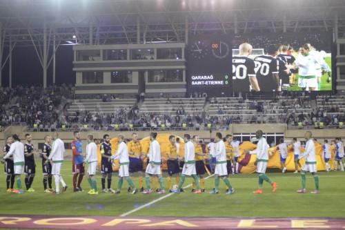 match du Saint Étienne-Qarabagh prise au Stade Togiq Bahramov de Bakou, le 18/09/2014 ; phase de poules de l'UEFA Europa League. Source qarabagh.com